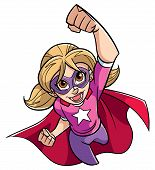 Full Length Cartoon Illustration Of A Powerful And Healthy Super Girl Flying While Wearing Superhero poster