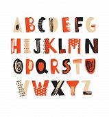 Creative Hand Drawn Latin Font Or Hipster English Alphabet Decorated With Dots And Scribbles. Bright poster