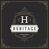 Ornament Monogram Logo Design Template Vector Flourishes Calligraphic Vintage Frame. Good For Luxury poster