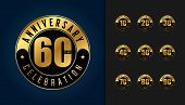 Set Of Anniversary Logotype. Golden Anniversary Celebration Emblem Design For Booklet, Leaflet, Maga poster