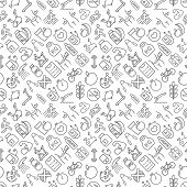 Seamless Fitness And Healthy Lifestyle Icons Pattern Grey Vector On White Background poster
