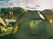 Tent Camp On River Or Lake Beach, Summer Vacation. Shelter, Sunshade, Waterproof, Wind Proof. Camp,  poster