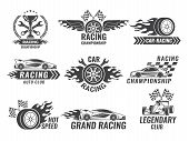Monochrome Labels And Badges Of Sport Labels. Racing Cars Speed, Auto Car Race Badge, Vector Illustr poster