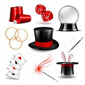 Magician Symbol Set With Black Cylinder Hat, Falling Dice, Magic Wand, Rabbit Ears Appear From The M poster