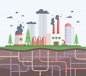 Factory With Underground Pipes - Modern Flat Design Style Vector Illustration. A Composition With A  poster