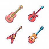 Guitar Icon Set. Cartoon Set Of Guitar Vector Icons For Web Design Isolated On White Background poster