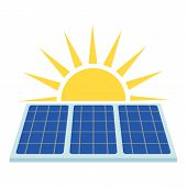 Solar Panel Icon. Flat Illustration Of Solar Panel Vector Icon For Web poster