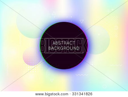 poster of Liquid Shapes Background With Dynamic Fluid. Holographic Bauhaus Gradient With Memphis Elements. Gra