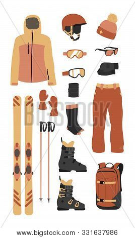 poster of Ski Equipment Kit Clothes Vector Illustration On Transparent Background. Extreme Winter Sport. Set S