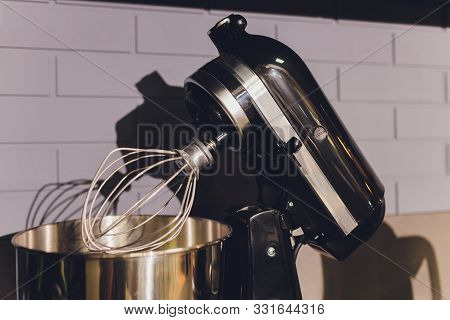 poster of Modern Kitchen Food Processor Isolated On Beige Background. Kitchen Universal Food Mixer. Multifunct