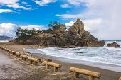 Wajima, Japan coast at Madoiwa Rock. poster