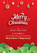 Merry Christmas And Happy New Year Greeting Card Banner Template. Use For Poster, Website, Cover, Fl poster