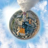 Aerial view to smoking chimmney from chemical plant. 360 degree panorama on air pollution and climat poster