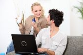 stock photo of concubine  - Couple shopping online - JPG