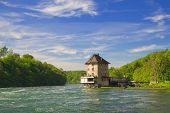 The castle Worth on the Rhine Falls. Northern Switzerland . Europe