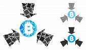 Bitcoin Collect Arrows Mosaic Of Rough Pieces In Various Sizes And Color Hues, Based On Bitcoin Coll poster
