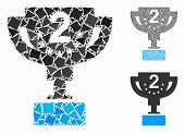 Second Prize Cup Mosaic Of Rugged Elements In Various Sizes And Color Tinges, Based On Second Prize  poster