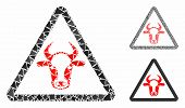 Cow Danger Mosaic Of Tuberous Pieces In Variable Sizes And Color Tinges, Based On Cow Danger Icon. V poster