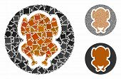 Chicken Dish Mosaic Of Humpy Items In Different Sizes And Color Hues, Based On Chicken Dish Icon. Ve poster