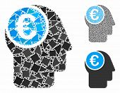 Euro Mind Mosaic Of Abrupt Elements In Different Sizes And Shades, Based On Euro Mind Icon. Vector U poster