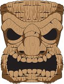 stock photo of tiki  - A vector wooden tiki carving based on the tropical tikis created by the people of the Polynesian Islands - JPG