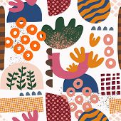Seamless Pattern Abstract Shapes Collage Pink Orange Green Blue Red. Modern Geometric Background Des poster