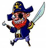 Pirata desenho animado com um gancho e um facão. Isolado no branco