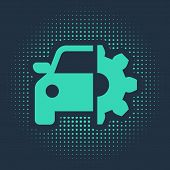 Green Car Service Icon Isolated On Blue Background. Auto Mechanic Service. Mechanic Service. Repair  poster