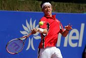 BARCELONA - APRIL, 25: Japanese tennis player Kei Nishikori in action during his match against Mikha