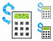 Accounting Mosaic Of Rugged Elements In Variable Sizes And Color Tones, Based On Accounting Icon. Ve poster