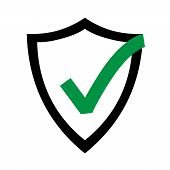 Secure Internet Icon. Protective Shield Sign Digital Security. Symbol Security Protection Web. Vecto poster