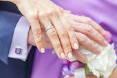 Bride And Groom Hands With Wedding Rings Against Background Of Bridal Bouquet Of Flowers. Declaratio poster