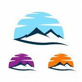 Mountains Logo Illustration, Outdoor Adventure. Illustration Peak, Hill Or Expedition Logo poster
