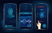 Modern Identification Smartphone App. Biometric Scanning Fingerprint, Face Recognition And Voice Rec poster
