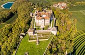 Aerial View Of Castel Thun, Gothic, Medieval Castle, Province Of Trento, Italy poster