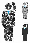 Business Lady Mosaic Of Unequal Items In Various Sizes And Color Tints, Based On Business Lady Icon. poster