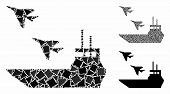 Aircraft Carrier Mosaic Of Abrupt Elements In Different Sizes And Color Tones, Based On Aircraft Car poster