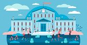 University Vector Illustration. Flat Tiny Academical Building Persons Concept. Daily Everyday School poster