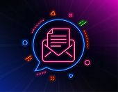 Mail Correspondence Line Icon. Neon Laser Lights. Read Message Sign. E-mail Symbol. Glow Laser Speec poster