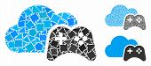 Cloud Game Controller Composition Of Rough Pieces In Various Sizes And Color Tints, Based On Cloud G poster