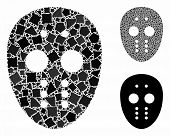 Maniac Mask Mosaic Of Uneven Elements In Various Sizes And Shades, Based On Maniac Mask Icon. Vector poster