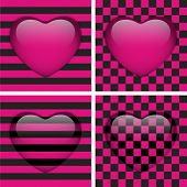 image of emo  - Vector Set of Four Glossy Emo Hearts - JPG