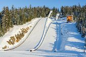 Structures For Ski Jumping. Ski Jumping Resort On Winter Season poster