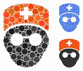 Medic Head Composition Of Filled Circles In Different Sizes And Color Hues, Based On Medic Head Icon poster