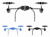 Quadcopter Mosaic Of Circle Elements In Different Sizes And Color Tinges, Based On Quadcopter Icon.  poster