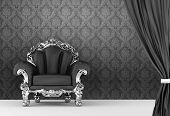 Opened Curtain With  Baroque Armchair On Wallpaper Background. Interior