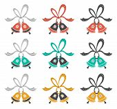 Christmas, New Year Vector Clipart. Hand Drawn Flat Jingle Bells With Ribbons. Colorful Clipart. Des poster