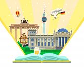 Concept Of Travel To Germany Or Studying German. German Flag With Landmarks In Open Book. poster
