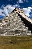 Wide-angle View Of Kukulkan Pyramid At Cichen Itza