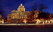 stock photo of christmas lights  - historic courthouse light with christmas lights - JPG